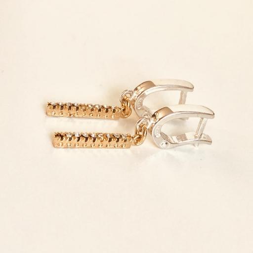 """Pendientes colección """"Barb"""" de plata, con circonitas y baño de oro rosa [1]"""