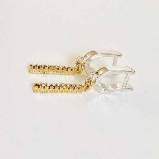 """Pendientes colección """"Barb"""" de plata, con circonitas y baño de oro amarillo [1]"""
