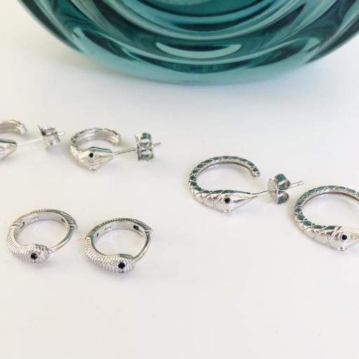 Pendientes criollas serpiente de plata 14mm [3]