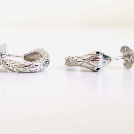 Pendientes criollas serpiente de plata 14mm [1]