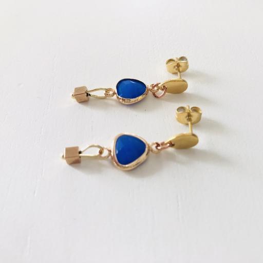 """Pendientes colección """"Kriss"""" en color azul y dorado [1]"""