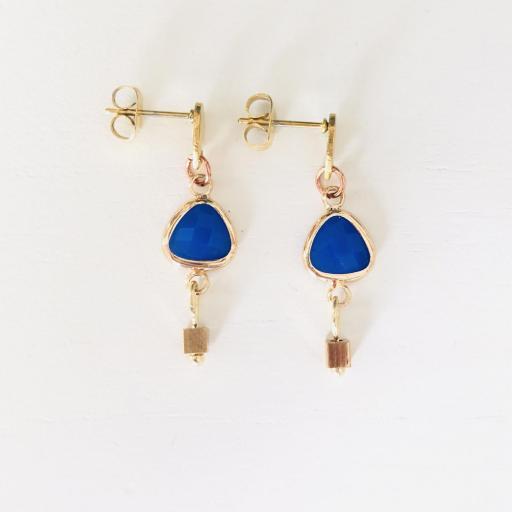 """Pendientes colección """"Kriss"""" en color azul y dorado"""