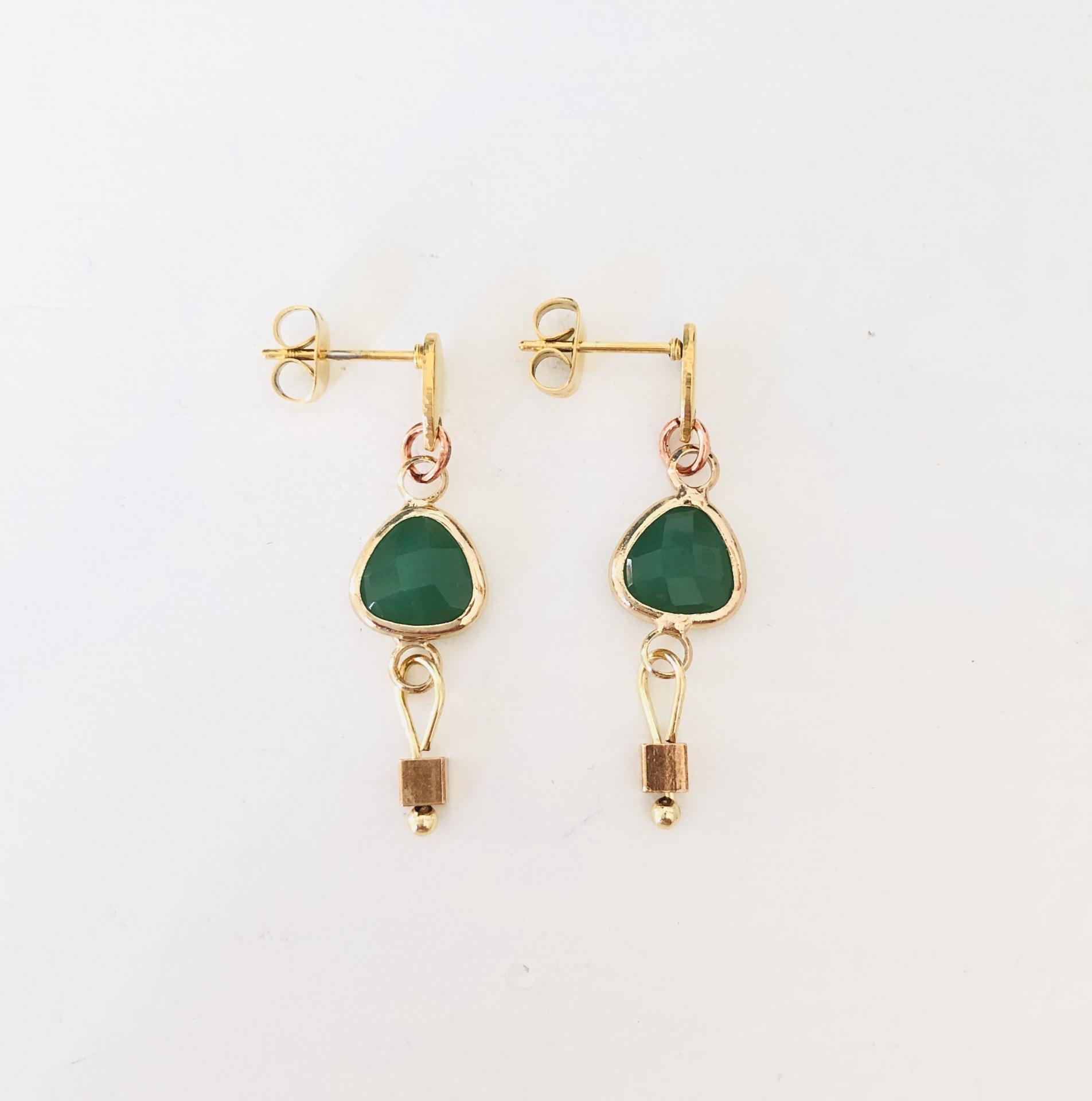 """Pendientes colección """"Kriss"""" en color verde y dorado"""