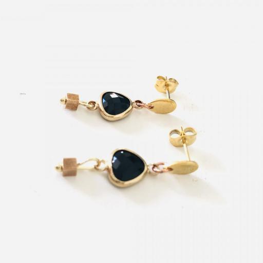 """Pendientes colección """"Kriss"""" en color negro y dorado [1]"""