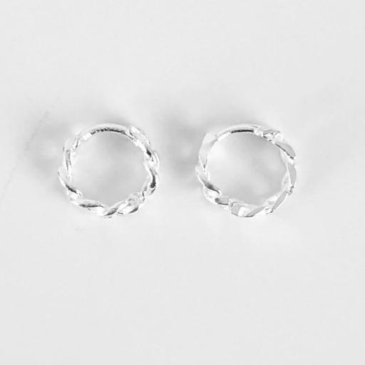 Aros eslabones de plata con baño de rodio de 10mm [2]