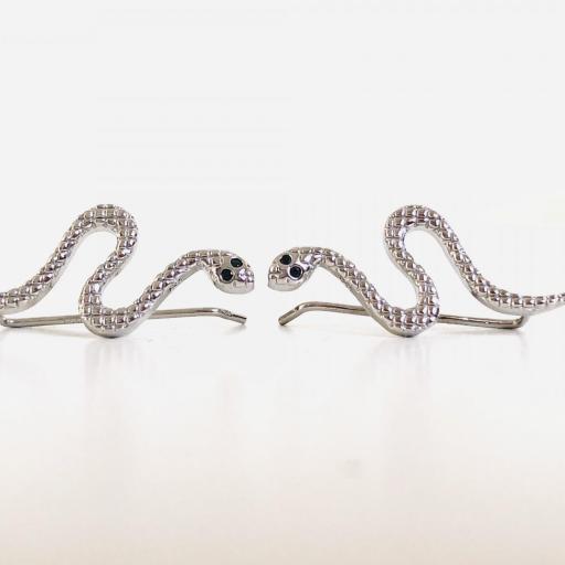 Pendientes trepadores de serpiente con circonitas negras
