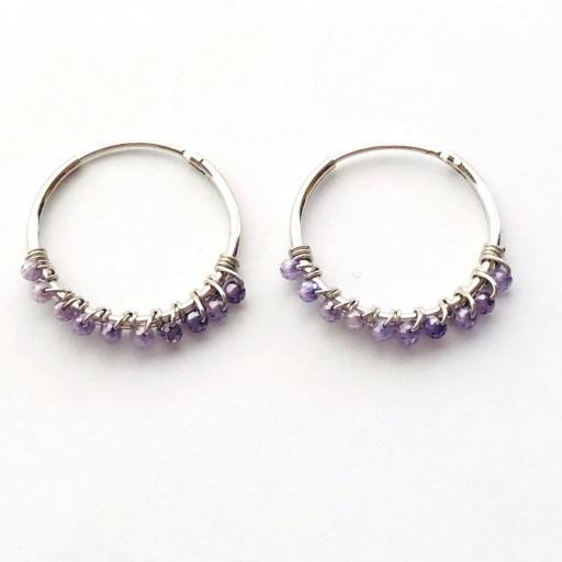 Aros de 20mm de plata con cristales violeta Swarovski [2]