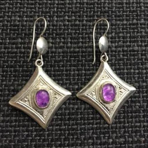 Pendientes Tuareg  plata y piedra violeta