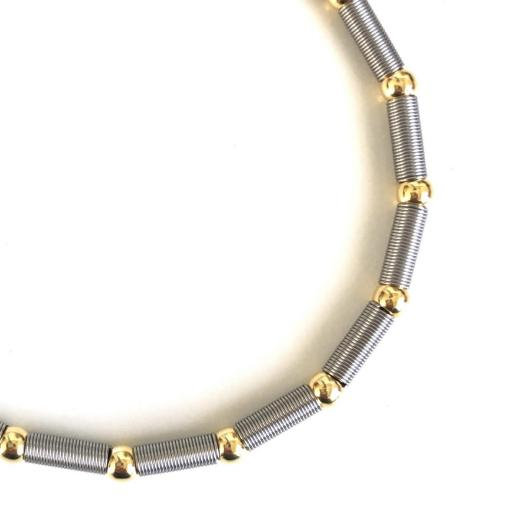 Pulsera elástica de plata  y acero con bolas bañadas en oro amarillo  [1]