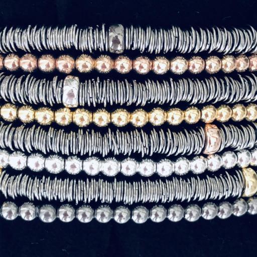 Pulsera elástica de bolas de plata con baño de rutenio [3]