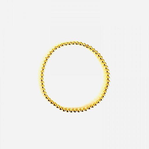 Pulsera elástica de bolas de plata con baño de oro amarillo