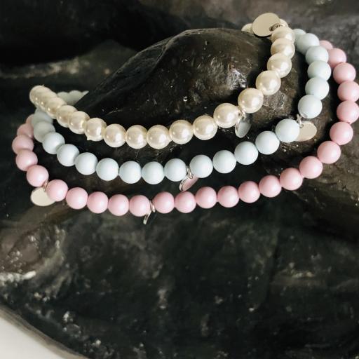 Pulsera de plata y perlas Swarovski azul pastel [3]