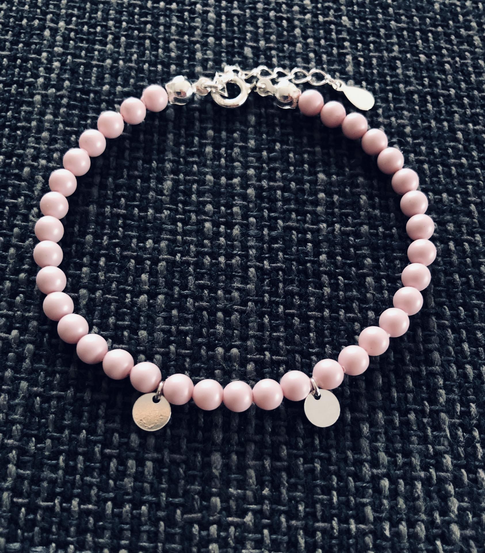 Pulsera de plata y perlas Swarovski rosa pastel