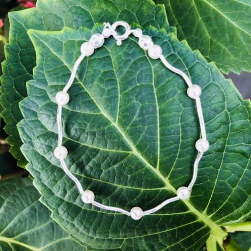 Pulsera de plata y perlas Swarovski [3]