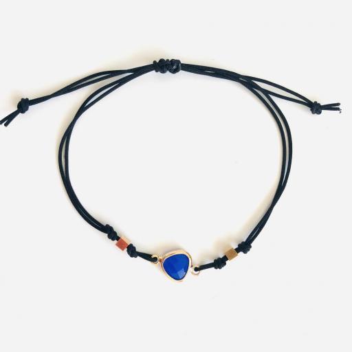"""Pulsera colección """"Kriss"""" de hilo con cristal color azul"""