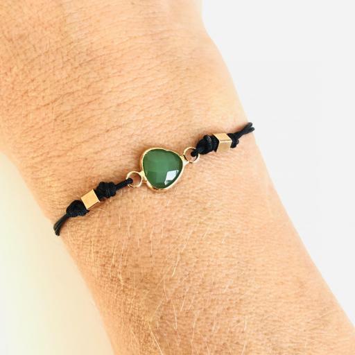 """Pulsera  colección """"Kriss"""" de hilo negro con cristal verde [2]"""