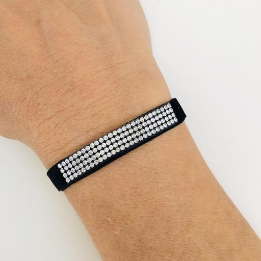 Pulsera elástica negra con cuatro filas de cristales Swarovski [1]