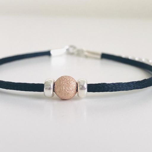 Pulsera colección Valentina de plata con bola diamantada en oro rosa