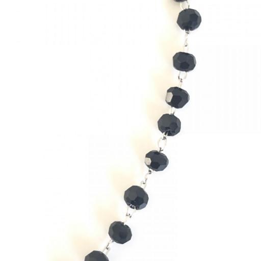 Pulsera de estrellas con cristales y cadena de bolitas negra [2]