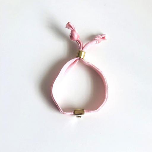 Pulsera terciopelo elástico rosa con cristal cuadrado [3]
