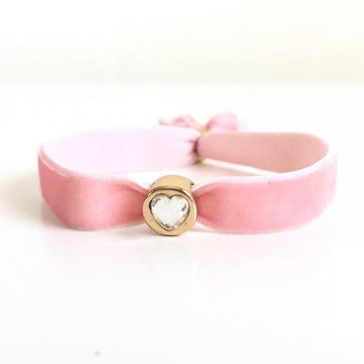 Pulsera terciopelo elástico rosa con cristal en forma de corazón [0]