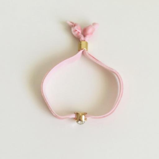 Pulsera terciopelo elástico rosa con cristal en forma de corazón [3]