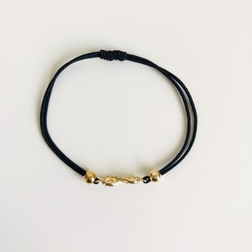 Pulsera de hilo elástico negro con infinito dorado y cristales [2]
