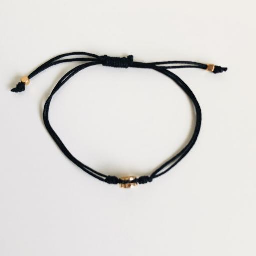 Pulsera de hilo negro con cristal redondo negro [2]