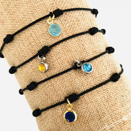 Pulsera negra de 7 nudos  dorada con cristal azul turquesa [3]