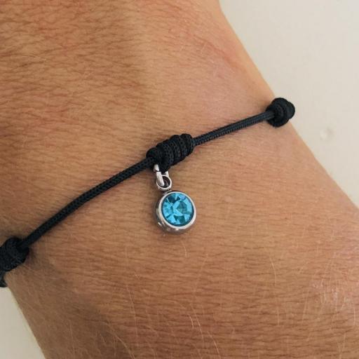 Pulsera negra de 7 nudos con cristal azul turquesa [1]