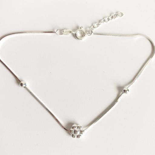 Pulsera tobillera con cadena y flor [2]