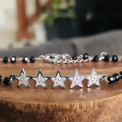 Pulsera de estrellas con cristales y cadena de bolitas negra [3]