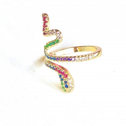 Anillo serpiente dorado con cristales  de colores