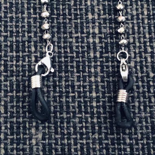 Cordón gafas de bolitas facetadas en gris plateado brillante [1]