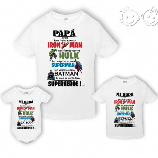 Pack camiseta/body papá superhéroe