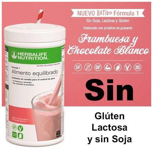 Batido fórmula 1 SIN Frambuesa y chocolate Blanco