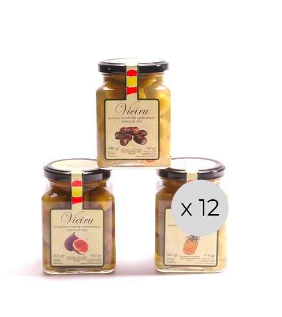 Aceitunas manzanilla caramelizadas rellenas de fruta Vieiru