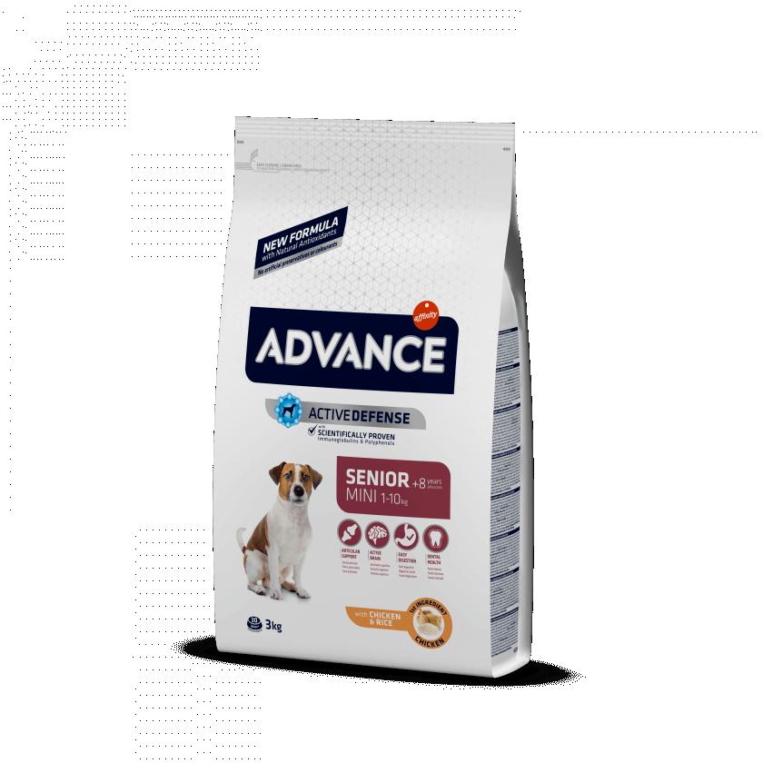 Advance Mini Senior para perros de raza pequeña en edad avanzada
