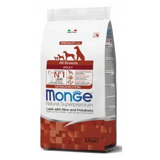Alimento para perros adultos a base de cordero con arroz y patata MONGE 12kg