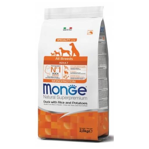 Alimento para perros adultos a base de pato con arroz y patata MONGE 12kg