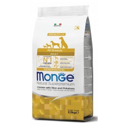 Alimento para perros adultos a base de pollo con arroz y patata MONGE 12kg