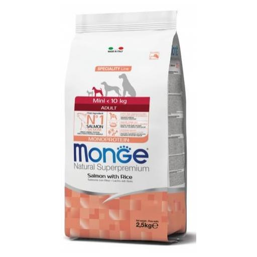 Alimento para perro adulto de raza pequeña a base de salmón y arroz MONGE 2,5kg