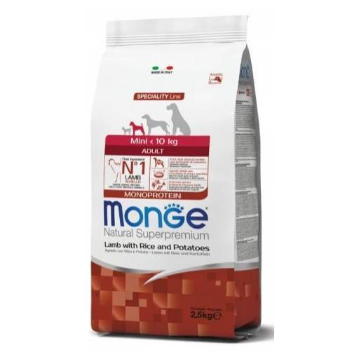 Alimento para perro adulto de raza pequeña a base de cordero y arroz MONGE 2,5kg