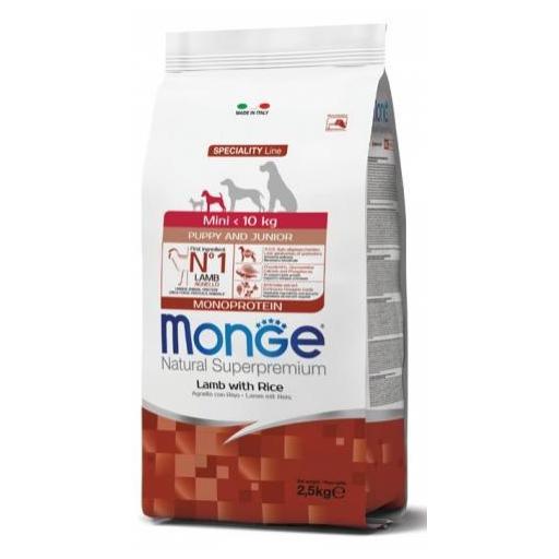 Alimento para perros de raza pequeña en crecimiento a base de cordero con arroz MONGE 2,5kg