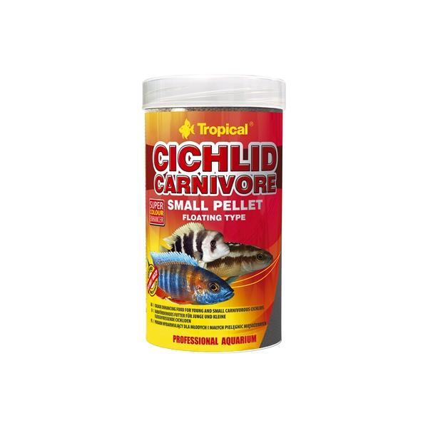 Alimento en pellets pequeños para cíclidos carnívoros 250ml