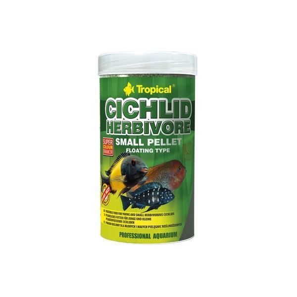 Alimento en pellets pequeños para cíclidos herbívoros TROPICAL 250ml