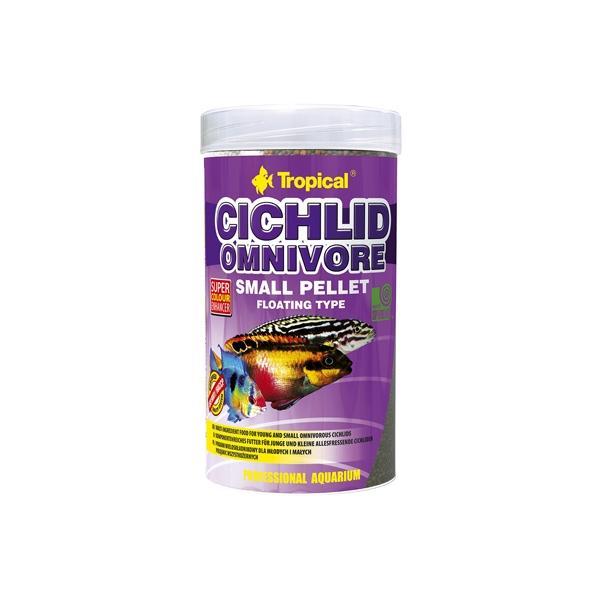 Alimento en pellets pequeños para cíclidos omnívoros TROPICAL 250ml