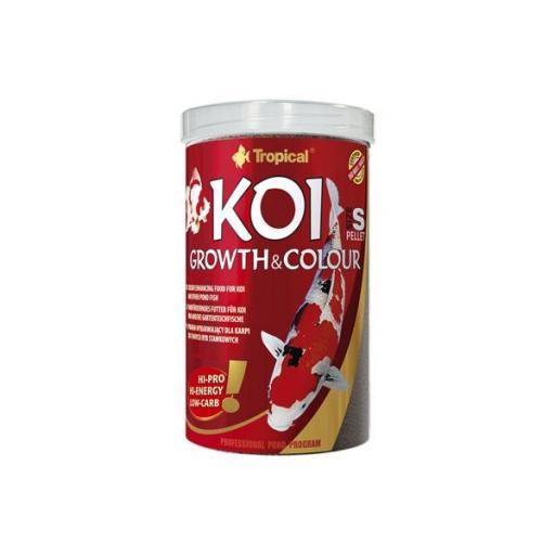Alimento para koi indicado para potenciar el color y el crecimiento en pellets pequeños 1 litro