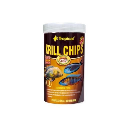 Alimento en chips con un contenido del 40% en krill para peces tropicales [0]