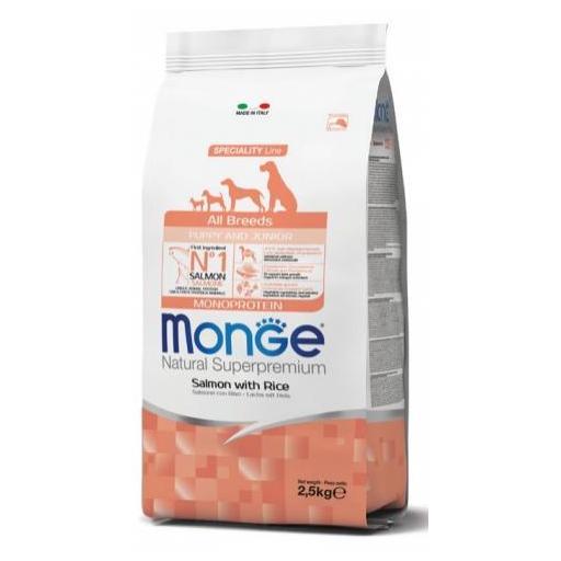 Alimento para perros en crecimiento a base de salmón y arroz MONGE 12kg